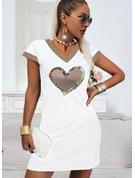 Print Hjerte Skiftekjoler Korte ærmer Mini Casual T-shirt Mode kjoler