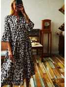 Leopardo Vestidos sueltos Mangas 3/4 Midi Casual Túnica Vestidos de moda