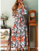 Floral Estampado Vestido linha-A Manga Comprida Maxi Elegante Skatista Vestidos na Moda