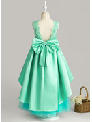 Ball-Gown/Princess Ankle-length Flower Girl Dress - Satin/Tulle/Lace Sleeveless Scoop Neck With Ruffles/Bow(s)