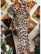 Leopard Åtsittande Långa ärmar Midi Elegant Penna Modeklänningar