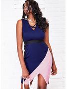 Trozos de color Ajustado Sin mangas Mini Casual Vestidos de moda