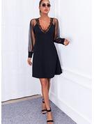 固体 シフトドレス 長袖 ミニ リトルブラックドレス エレガント ファッションドレス