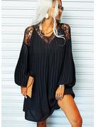 Lace Solid Shift Long Sleeves Mini Little Black Elegant Tunic Dresses