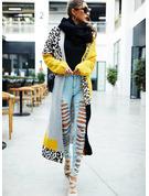 Lässige Kleidung Lange Leopard Farbblock Pullover