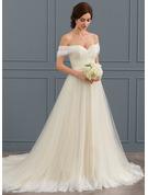 De baile Off-the-ombro Cauda de sereia Tule Renda Vestido de noiva com Pregueado