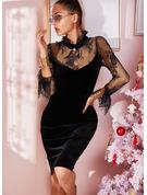 Blonder Solid Bodycon Lange ærmer Mini Den lille sorte Party Mode kjoler