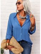 Solid V-hals 3/4 ærmer Button-up Casual Shirt Skjorter