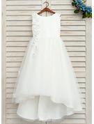 A-Line Asymmetrical Flower Girl Dress - Satin/Tulle Sleeveless Scoop Neck With Beading/Flower(s)/Bow(s)