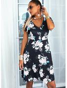 Floral Estampado Vestido linha-A Manga Curta Mini Casual Skatista Vestidos na Moda