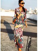 Tisk Šaty Shift 3/4 rukávy Volný Rukáv Maxi Neformální Dovolená Módní šaty