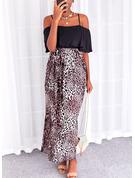 Leopard Print Kjole med A-linje 1/2 ærmer Maxi Casual Ferie skater Mode kjoler