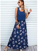 Floral Impresión Vestido línea A Sin mangas Maxi Casual Vacaciones Patinador Vestidos de moda