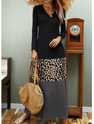 Leopard Color Block Print Shift Long Sleeves Maxi Casual Dresses