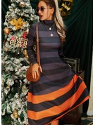 Color Block A-line Long Sleeves Midi Casual Skater Dresses