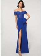 Sheath/Column Off-the-Shoulder Floor-Length Lace Stretch Crepe Evening Dress With Sequins