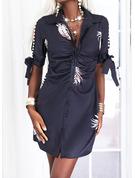 Print Perlebrodering Skede 1/2 ærmer Split ærmer Mini Casual Skjorte Mode kjoler