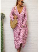 Tisk Šaty Shift Dlouhé rukávy Maxi Neformální Dovolená Módní šaty