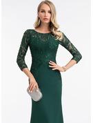 Sheath/Column Scoop Neck Floor-Length Stretch Crepe Evening Dress With Sequins