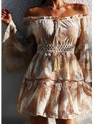 Druck A-Linien-Kleid Schlagärmel Lange Ärmel Mini Lässige Kleidung Skater Modekleider