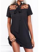 PolkaDot Solid Shift Short Sleeves Mini Little Black Casual Tunic Dresses