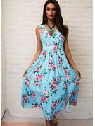 Floral Vestido línea A Sin mangas Midi Casual Vestidos de moda