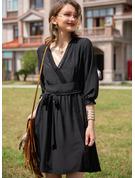 Blonder Solid Kjole med A-linje 3/4 ærmer Mini Den lille sorte Casual Ferie skater Mode kjoler