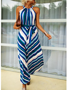 Print Striped A-line Sleeveless Maxi Casual Skater Dresses