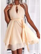 Solid Kjole med A-linje Ærmeløs Mini Elegant skater Mode kjoler