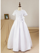 A-Line/Princess Floor-length Flower Girl Dress - Satin Short Sleeves Scoop Neck With Flower(s)