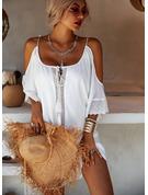 Spitze Einfarbig Etuikleider 3/4 Ärmel Kalte Schulter Ärmel Mini Lässige Kleidung Urlaub Tunika Modekleider