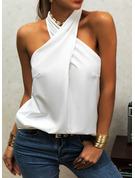 Solid Stand collar Sleeveless Casual Tank Tops