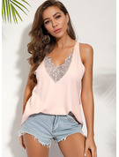 Lace Solid V-Neck Sleeveless Casual Elegant Tank Tops