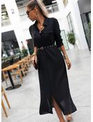 Solid A-line Long Sleeves Maxi Little Black Shirt Dresses