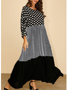 Patchwork Plaid PolkaDot Shift 3/4 Sleeves Maxi Casual Dresses