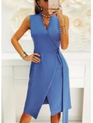 Einfarbig Etui Ärmellos Midi Lässige Kleidung Bolero Modekleider