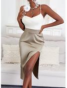 Trozos de color Cubierta Sin mangas Midi Elegante Tipo Vestidos de moda