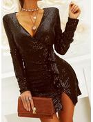 スパンコール 固体 シースドレス 長袖 ミニ リトルブラックドレス パーティー エレガント ラップ ファッションドレス