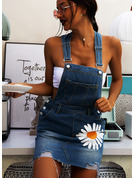 Blomster Print Skiftekjoler Ærmeløs Mini Jean Casual Mode kjoler
