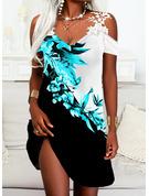 Trozos de color Floral Impresión Cubierta Manga Corta Mini Casual Vestidos de moda