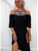 印刷 シフトドレス 1/2袖 ミディ カジュアル チュニック ファッションドレス