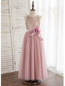 A-Line/Princess Ankle-length Flower Girl Dress - Tulle/Sequined Sleeveless Halter With Flower(s)