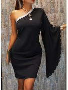 Payetler Solid Shift Elbiseleri Măneci Liliac Mâneci Lungi Mini Negre Parti Moda Elbiseler