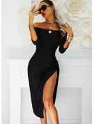 固体 シースドレス 3/4袖 ミディ リトルブラックドレス パーティー エレガント ファッションドレス
