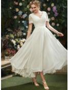 A-Line V-neck Asymmetrical Wedding Dress With Lace