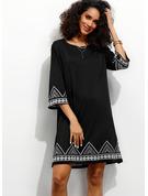 Print Skiftekjoler 3/4 ærmer Mini Casual Elegant Tunika Mode kjoler