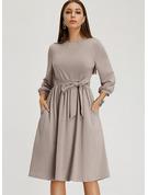 Einfarbig A-Linien-Kleid Lange Ärmel Midi Jahrgang Lässige Kleidung Elegant Modekleider