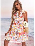 Animal Print Floral Print Heart Letter Shift Sleeveless Mini Casual Vacation Dresses