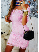 Lace Solid Bodycon 1/2 Sleeves Mini Casual Dresses