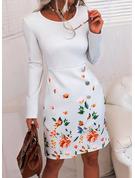 Blommig Print Åtsittande Långa ärmar Midi Elegant Penna Modeklänningar